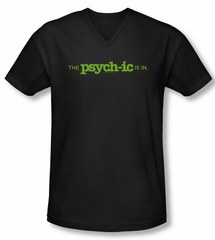 Psych Shirt Slim Fit V Neck The Psychic Is In Black Tee Shirt