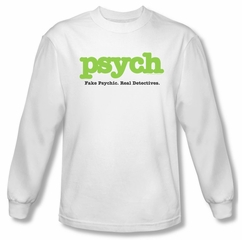Psych Shirt Title Long Sleeve White Tee T-Shirt