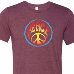 Psychedelic Peace Mens Tri Blend Crewneck Shirt