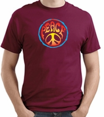 PSYCHEDELIC PEACE Sign Symbol Adult T-shirt - Cardinal Red