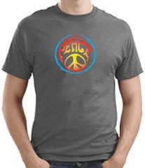 PSYCHEDELIC PEACE Sign Symbol Adult T-shirt - Heather Grey