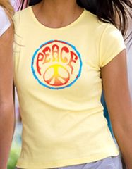 PSYCHEDELIC PEACE Symbol Sign Juniors Size Fitted T-shirt Tee