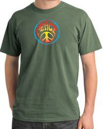 Psychedelic Peace World Peace Sign Symbol Adult Pigment Dyed T-shirts