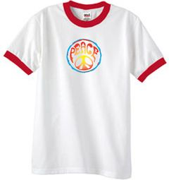 Psychedelic Peace World Peace Sign Symbol Adult Ringer T-shirts