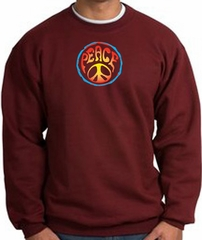 PSYCHEDELIC PEACE World Peace Sign Symbol Adult Sweatshirt - Maroon