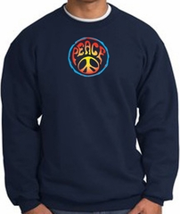 PSYCHEDELIC PEACE World Peace Sign Symbol Adult Sweatshirt - Navy