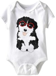 Puppy Glasses Funny Baby Romper White Infant Babies Creeper