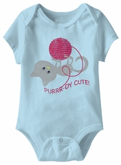 Purrr-dy Cute! Funny Baby Romper Light Blue Infant Babies Creeper