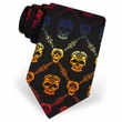 Rainbow Skull Diamond Black Polyester Necktie – Mens Holiday Neck Tie