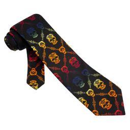 Rainbow Skull Diamond Black Polyester Necktie � Mens Holiday Neck Tie
