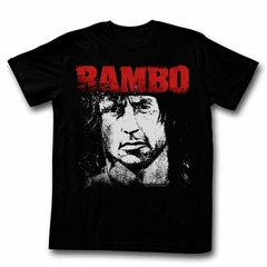 Rambo Shirt Distressed Photo Black T-Shirt