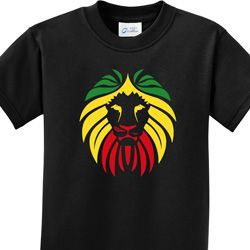 Rasta Lion Head Kids Shirts
