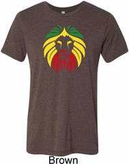 Rasta Lion Head Mens Tri Blend Crewneck Shirt