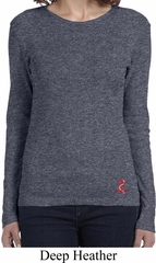 Red Anchor Patch Bottom Print Ladies Long Sleeve Shirt