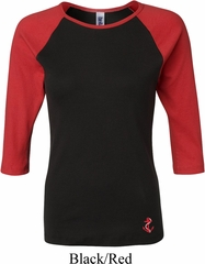 Red Anchor Patch Bottom Print Ladies Raglan Shirt