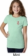 Red Anchor Patch Pocket Print Girls Shirt