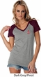 Red Anchor Patch Pocket Print Ladies Contrast V-Neck Shirt