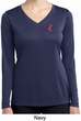 Red Anchor Patch Pocket Print Ladies Dry Wicking Long Sleeve Shirt