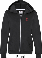 Red Anchor Patch Pocket Print Ladies Full Zip Hoodie