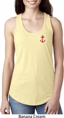 Red Anchor Patch Pocket Print Ladies Ideal Tank Top