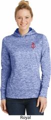 Red Anchor Patch Pocket Print Ladies Moisture Wicking Hoodie