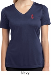 Red Anchor Patch Pocket Print Ladies Moisture Wicking V-neck Shirt