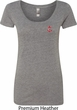 Red Anchor Patch Pocket Print Ladies Scoop Neck Shirt