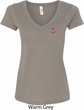 Red Anchor Patch Pocket Print Ladies V-Neck Shirt
