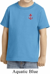 Red Anchor Patch Pocket Print Toddler Shirt