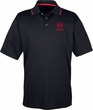 Red Dodge Ram Pocket Print Men's Cool Dry Two Tone Polo Shirt
