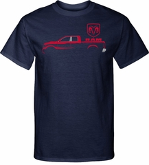 Red Dodge Ram Silhouette Tall T-shirt