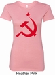 Red Hammer and Sickle Ladies Longer Length Shirt