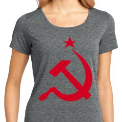 Red Hammer And Sickle Ladies Shirts