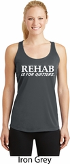 Rehab Is For Quitters Ladies Dry Wicking Racerback Tank Top