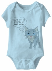 Right Meow! Funny Baby Romper Light Blue Infant Babies Creeper