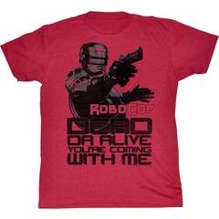 Robocop Shirt Dead or Alive Adult Red Heather Tee T-Shirt