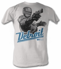Robocop T-Shirt - Detroit Silver Adult White Tee Shirt