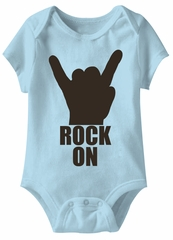 Rock On Hand Funny Baby Romper Light Blue Infant Babies Creeper