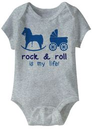 Rock & Roll Is My Life Funny Baby Romper Grey Infant Babies Creeper