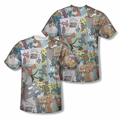 Rocky And Bullwinkle Shirt Collage Sublimation Shirt Front/Back Print