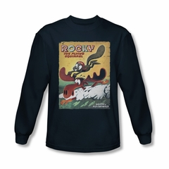 Rocky And Bullwinkle Shirt Flying Squirrel Long Sleeve Navy Tee T-Shirt