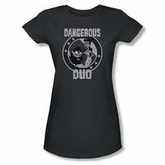 Rocky And Bullwinkle Shirt Juniors Dangerous Duo Charcoal T-Shirt