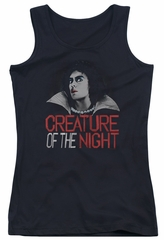 Rocky Horror Picture Show  Juniors Tank Top Creature Of The Night Black Tanktop