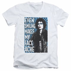 Rocky Horror Picture Show  Slim Fit V-Neck Shirt Face Ache White T-Shirt