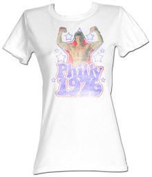 Rocky Juniors T-shirt Distressed Philly 1976 White Tee Shirt
