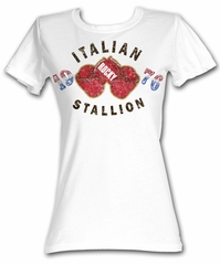 Rocky Juniors T-shirt Italian Stallion Gloves 1976 White Tee Shirt