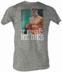 Rocky T-shirt Boxer Dies Distressed Adult Heather Grey Tee Shirt