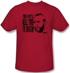 Rocky T-shirt Kill You To Death Clubber Lang Adult Red Tee Shirt