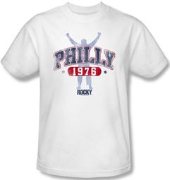 Rocky T-shirt Philly 1976 Classic Adult White Tee Shirt