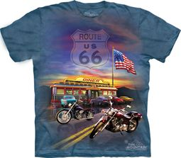 Route 66 Shirt Tie Dye American Flag Motorcycle T-shirt Adult Tee